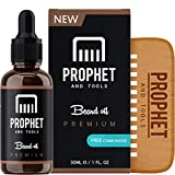 Premium Unscented Beard Oil and Comb Kit for Thicker Facial Hair Grooming - The All-in-One Conditioner, Softener, Shine and Fuller Beards & Mustache Growth - Nuts-Free & Vegan! Prophet and Tools