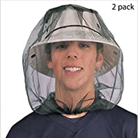 CSDSTORE Cabeza de insecto Malla de malla Máscara protectora Máscara antimosquitos Insecto de abeja Insecto Mosca Gorra con cabeza Malla de red Protección facial Equipo de pesca al aire libre (Paquete de 2)