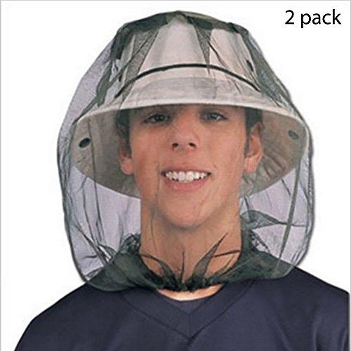 BHCSTORE Insetto capo rete netta Maschera di protezione protettiva anti-zanzara Bee Bug Insetto cappuccio mosca cappuccio con testa rete della faccia Outdoor attrezzature da pesca (2 pacchetti)
