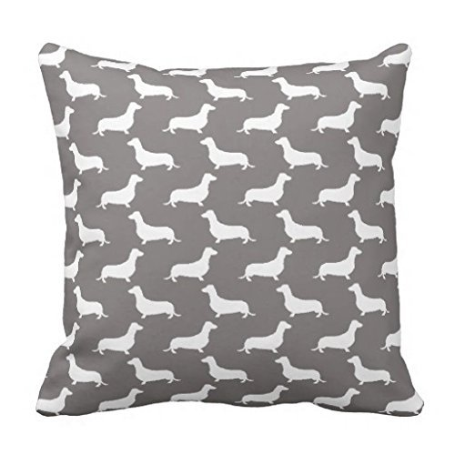 Vincent Vivi Fashion Cushions Dachshund White Silhouettes On Dove Grey Throw Pillow Case Vivi Fashion