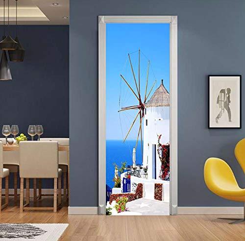 Griechische Gastfamilie Tür Aufkleber Tapete Wohnzimmer Schlafzimmer Pvc Wasserdicht Selbstklebende Diy Home Decal Decals Paste Großhandel 77X200Cm