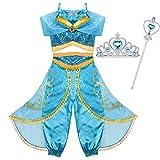 Tacobear Jasmin Kostüm Kinder mit Krone Zauberstab Prinzessin Jasmin Kleid für Mädchen Karneval Verkleidung Halloween Party Prinzessin Cosplay Kostüme (5-6 Jahre)