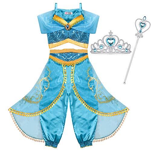 Tacobear Jasmin Kostüm Kinder mit Krone Zauberstab Prinzessin Jasmin Kleid für Mädchen Karneval Verkleidung Halloween Party Prinzessin Cosplay Kostüme (6-7 ()