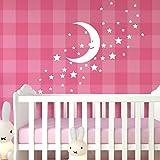 Wandora W1532 Wandtattoo Sterne Mond I pastellrosa I Mächen Jungen Aufkleber selbstklebend Wandaufkleber Wandsticker Kinderzimmer Schlafzimmer