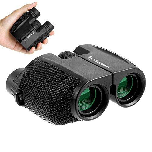 Mounchain Fernglas Kompakt 10x25 Pocket Binocular / Teleskop für Kinder Erwachsene, Klein Wasserdicht Faltbar mit Nachtsicht für Vogelbeobachtung, Jagd, Safari, Sport, Golf, Konzert