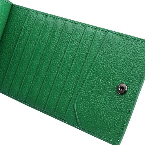 Yvonnelee Delle donne del cuoio genuino portafogli borsa esclusiva Long Bifold cassa Green