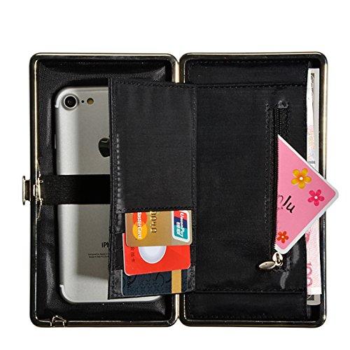 Portefeuille Femme Party Bag Purse Porte-passeport, Vandot [Grande Capacité] Universal Pochette avec Zippé Motif Longues Oreilles Housse pour iPhone X, iPhone 8 / 8 Plus etc. PU Cuir Wallet Sac de Fêt Nœud 02-Rouge