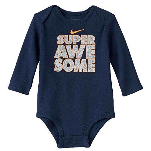 Nike Infant Boys Blue Super Awesome Bodysuit Snap Bottom T-Shirt 0-3 Months (Boys Blue Nikes)
