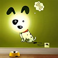 Elsley Cute Dog 3D wall stickers wall lamps Night light for kids room