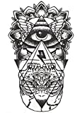 HB-051 - Flash Tattoo Schwarz-Weiß Esoterik Auge Pyramide Schädel Ägypten Temporäre Kleber Temporäre Körper Aufkleber Gothic Gotik Oriental Exotisch Tattoo Sticker Blatt Schwarz-Weiß-Osten Für - Männer