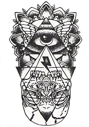ღ HB-051-Flash Tattoo schwarz / weiß Schädel Pyramide Körper temporäre Klebstoff esoterischen Auge östlichen Ägypten exotischen Kleber Papier Aufkleber Gotik Gothic Black And White Osten für Männer Frauen (Flash-tattoo-maker)