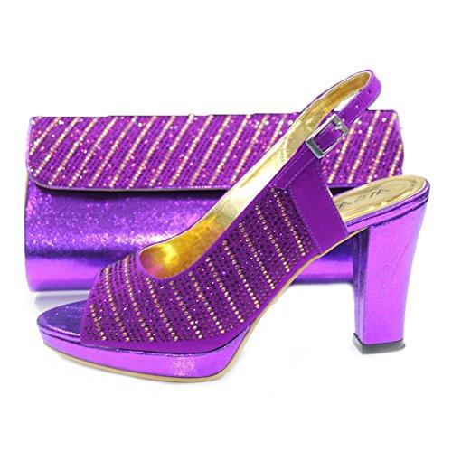 W & W femmes Mesdames cristal Diamante Mariée Mariage Chaussures et sac assorti Taille 4-10(Eddy & Mobi) Violet - violet