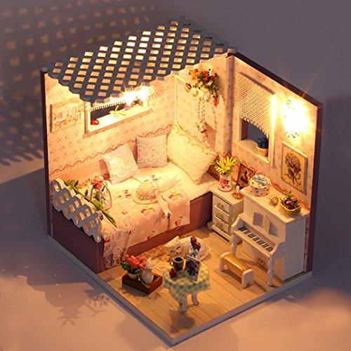 DIY Cottage Prinzessin Raum, mamum DIY Holz Miniatur Puppe Haus Möbel LED Puppenhaus dekorieren Creative Spielzeug