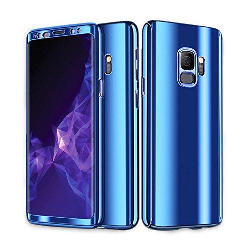 Samsung Galaxy S9 Hülle, 3 in 1 Ultra Dünner PC Harte Case 360 Grad Ganzkörper Schützend Anti-Kratzer Anti-dropping Schutzhülle für Galaxy S9 Plus (Samsung Galaxy S9, Blau)