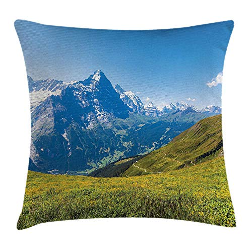 KAKICS Landscape Throw Pillow Cushion Cover, Peaks of Swiss Alps in Sunny Summer Day Flowers Valley Nothern Rural Print Deco, Decorative Square Accent Pillow Case, 18 X 18 inches, Green Blue Swiss Dot Dress