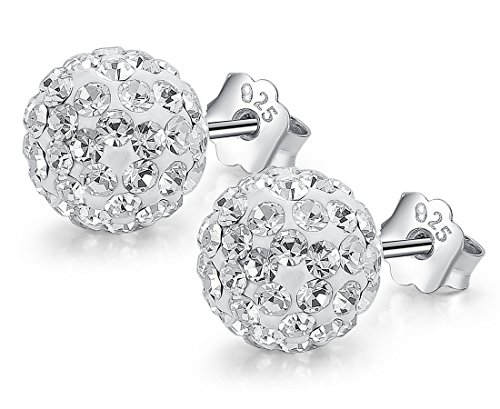 Neoglory Jewellery Rhinestone 925 Sterling Silver Ball stud Earrings