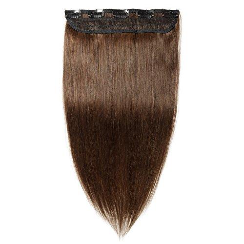 Clip in extensions echthaar Haarverlängerung 100% Remy Echthaar - 1 Stück (55cm-55g #4 mittelbraun)