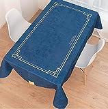 WJYdp Blaues Wasserdichtes Tischtuchrechteck Gold Line