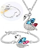 Cyan multicolor swan shaped pendant and ...