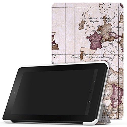 Fall 2015 Hd Kindle 7, Fire (MoKo Fire 2015 7 Zoll Hülle - Ultra Slim Lightweight Schutzhülle Smart Cover Case mit Standfunktion für Amazon Fire Tablet (Vorherige 5th Generationeration - 2015 Modell) Tablet, Map B112)