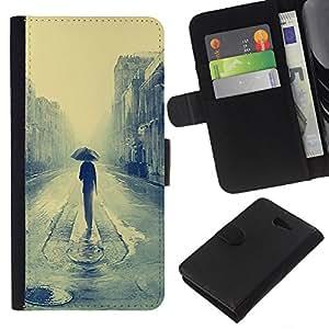 Leder Brieftasche Hülle Schutzhülle HandyHülle für Mobiltelefon Leather Wallet Case for Sony Xperia M2 / CECELL Phone case / / Rainy London Malerei /