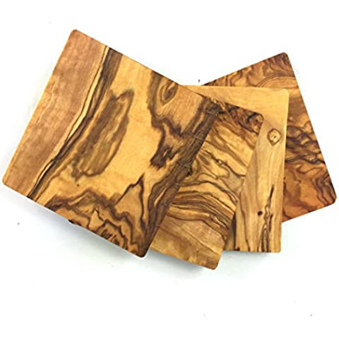 Rustic Wall Co. Natural Olive Wood Square Coasters, Set of 4 by Green Outfitters