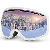 Baban Lunettes de Ski Masque de Snowboard Anti-UV Anti-buée avec Double Lentille Amovible Lunettes de Protection avec Grande Lentille OTG Sphérique pour Homme et Femme