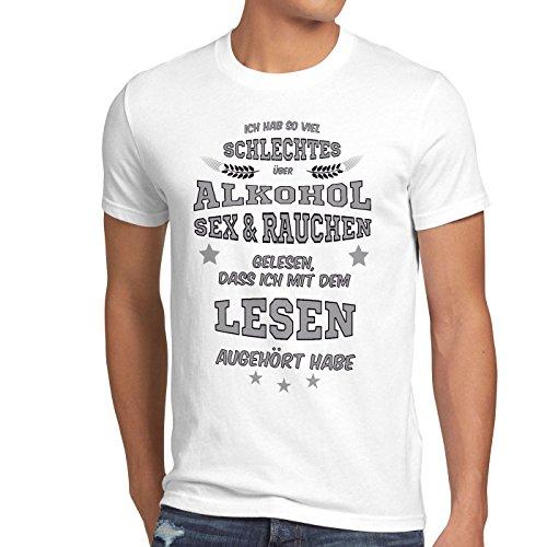style3 Ich hab so viel schlechtes über Alkohol Sex Rauchen gelesen... Herren T-Shirt Spruch Fun Funshirt Shirt Weiß