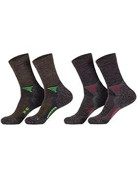1 Paar Funktions- u. Trekking-Socken mit Merinowolle mit Spezialpolsterungen (35-38), (39-42), (43-46), anthrazit...
