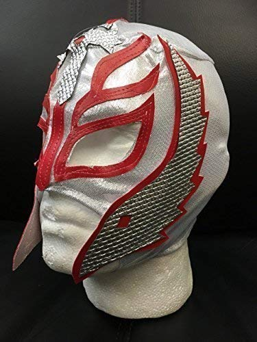(Wrestling Rey Mysterio - Silber - Reißverschluss Maske - Brand Neu - WWE Kostüm Verkleidung Kostüm Outfit)