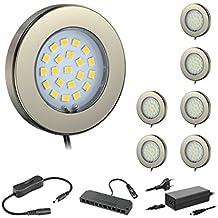 ledscom.de Juego de 7 LED lámpara bajo mueble Maja, crómico mate, con transformador, redondo, plano, 6cm Ø, 290lm, blanca cálida
