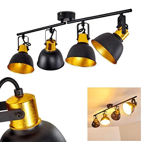 Deckenleuchte Blackburn, Deckenlampe aus Metall in Schwarz/Gold, 4-flammig, mit verstellbaren Strahlern, 4 x E14-Fassung max. 25 Watt, Spot im Retro/Vintage Design, für LED Leuchtmittel geeignet