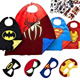 LAEGENDARY Halloween Superhelden Kostüm für Kinder – Kleinkind Superhelden Party Outfit - Spielzeug für Jungen und Mädchen - 4 Capes und Maske – Im Dunkeln Leuchtendes Spiderman Logo