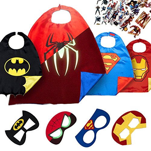 LAEGENDARY Halloween Superhelden Kostüm für Kinder - Kleinkind Superhelden Party Outfit - Spielzeug für Jungen und Mädchen - 4 Capes und Maske - Im Dunkeln Leuchtendes Spiderman Logo