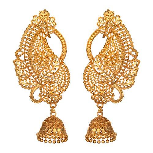 Efulgenz Schmuckset mit Ohrringen aus indischem Bollywood, 14 kt vergoldet, Paisely-Jhumki-Jhumki-Ohrringen