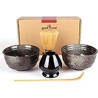 Goodwei Juego de té Matcha para dos - Bol de té, batidor y soporte incl. Caja de regalo … (negro)