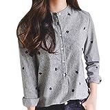 ABsoar Blusen Streifen Stehkragen Shirt Hemd Frauen Baumwolle Leinen Blusen Stickerei Langarm Shirt Tunika Tops Oberseite