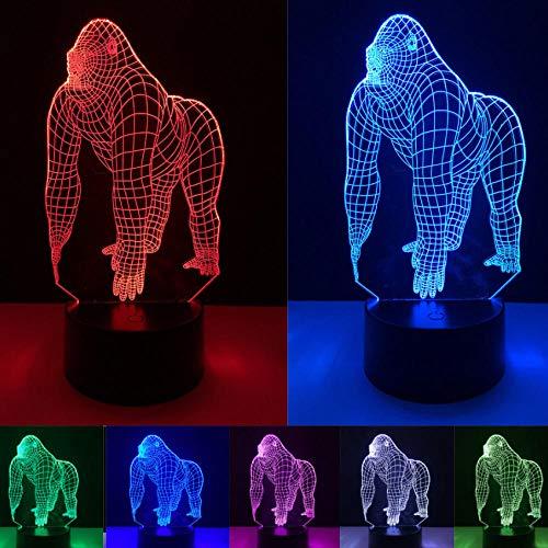 3D Illusion Orang Gorilla Schimpanse Halloween Optische Täuschung LED USB Bunt Tisch Nachtlicht Schreibtisch Beleuchtung Stimmung Weihnachtslampe
