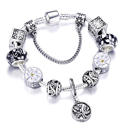 Armband Armreif,Schmuck Geschenk, 925 Fashion Silver Charms Bracelet Bangle for Women Crystal Flower Beads Fit Brand Bracelets Jewelry AE0241 21cm - Frauen Xoxo Watchs