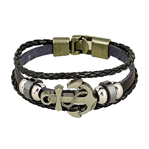 Menjewell Authentic Stylish Anchor Charm Genuine Leather Wrap Bracelet For Men / Boys for Daily /Party/Casual Wear Fashion Jewellery,(Black)  available at amazon for Rs.199