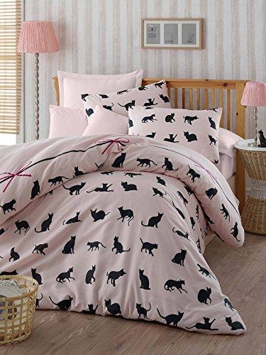 Cama de lujo Set 3piezas Mezcla de Algodón Cama doble Reina juego de ropa de cama de alta calidad gato negro Animal rosa mascota Niñas Kitty madre día regalo
