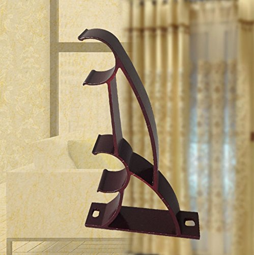 Ddoq Lot de 2 tiges en métal Double rideau Tringle à rideau Supports de fixation (vin rouge 28 mm)
