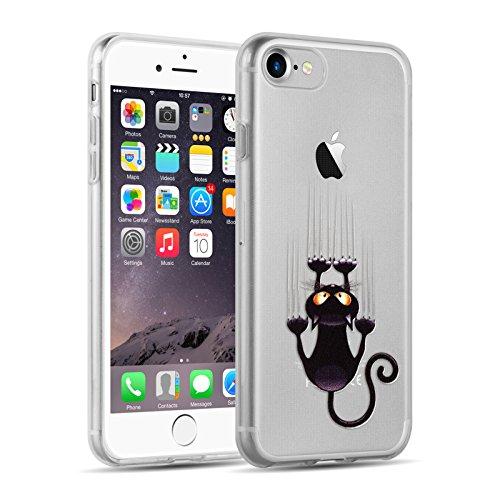 iPhone 8, iPhone 7 Hülle   JAMMYLIZARD Transparente Schutzhülle Sketch Back Cover Case aus Silikon, Mario Brüder KRATZENDE KATZE