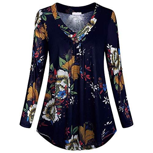 Zegeey Damen Plus Size Long Sleeve Print V-Neck Button Pullover Tops Shirt Bluse Langarm Karneval Fasching Fasnacht Cocktailkleider Partykleid - Cowboy Damen V-neck T-shirt