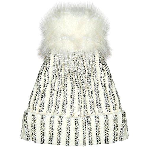 ce13850d4c2 X17 Celebmodelook New Ribbed Studded Diamante Diamond Beanie Hat Fur Bobble  Pom Pom Fleece Inner Lining Ski Hat. - Buy Online in Oman.