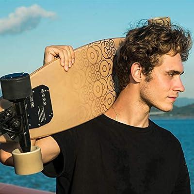 Elektrisches Skateboard mit Fernbedienung, Elektrisches Longboard mit Multi-Layer-Ahornfaser, Double Drive Motor Elektrisches Skateboard, 18 km Reichweite, 30 km / h, Höchstgeschwindigkeit,NaturalWood
