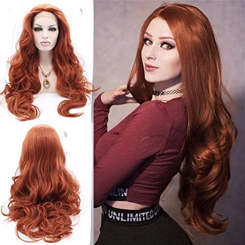 61cm 360# rot braun Body Wave Synthetik Lace Front Perücken gratis, 180% Dichte Hälfte Hand auf Hitzebeständige Kunstfaser Haar für Frau