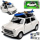 Welly Mini Cooper Ur Modell Weiss mit Schwarzem Dach und Surfbrett 1959-2000 ca 1/43 1/36-1/46 Modell Auto