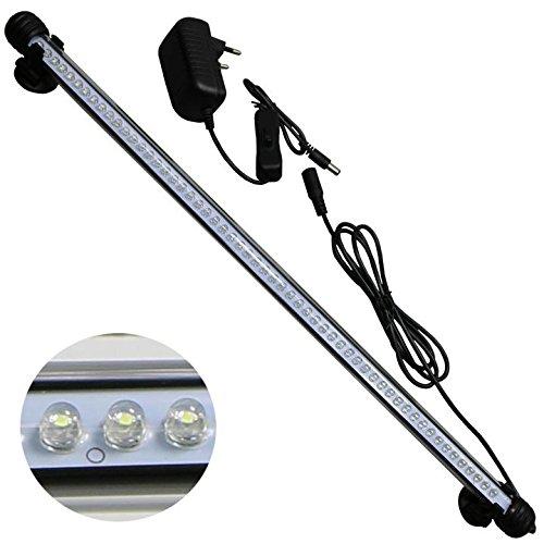 MingDak Kit éclairage LED pour aquarium, lampe tube barre en cristal étanche adapté pour l'aquarium d'eau de mer et d'eau douce, 57 LEDs, 18,5 pouces, éclairage blanc