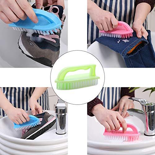 CplaplI Reinigungsmittel, Kunststoff Scheuerbürste mit steifen Borsten Griff Reinigung Kleidung Schuhe Pfanne Werkzeug Zufällige Farbauswahl -